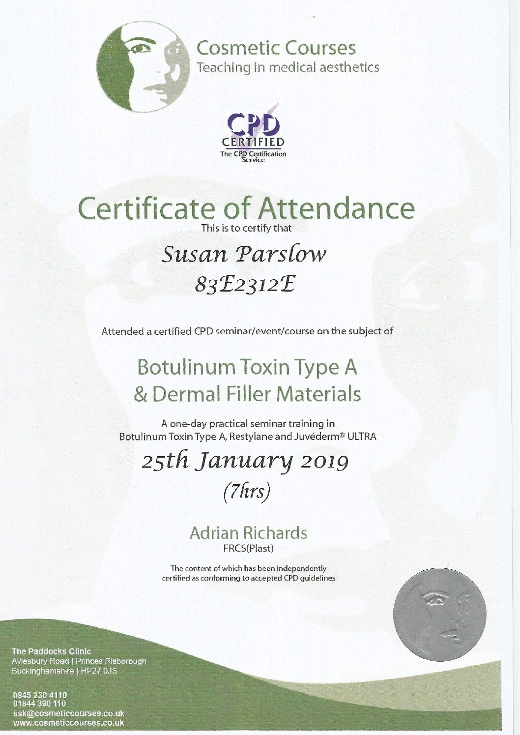 Foundation Cosmetic Course Certificate